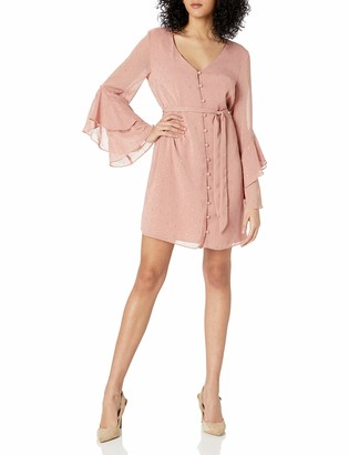 Cupcakes And Cashmere Women's Keegan Metallic Dot Chiffon Dress with Ruffle Sleeve