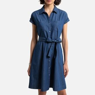 Anne Weyburn Denim Shirt Dress with Short Sleeves