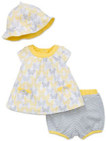 Offspring Babys Three-Piece Dress, Bloomers and Hat Set