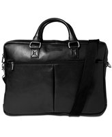 Perry Ellis Zip-Top Leather Briefcase