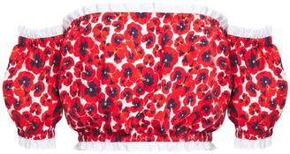Isolda Off-the-shoulder Floral-print Stretch-cotton Poplin Top