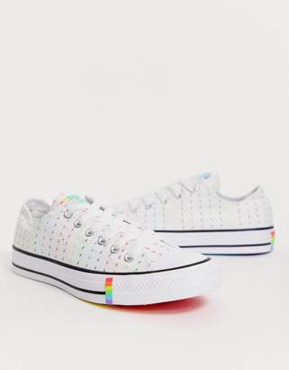 Converse Pride Chuck Taylor Ox All Star White And Rainbow Lightening Bolt Trainers