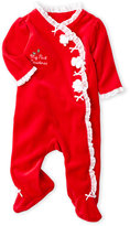 Little Me Newborn/Infant Girls) My First Christmas Velour Footie