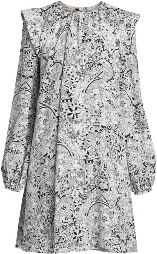 Alexander McQueen Printed Long-Sleeve Silk Mini Dress