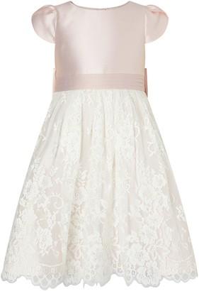 Monsoon Girls Duchess Twill Lace Bridesmaid Dress - Pink