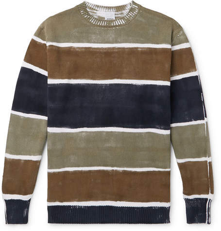 Aspesi Slim-Fit Hand-Painted Striped Cotton Sweater