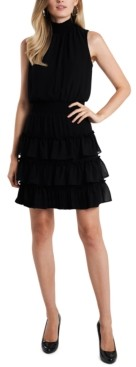 MSK Petite Smocked-Trim Tiered Dress