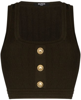 Balmain Cropped Button-Embellished Tank Top