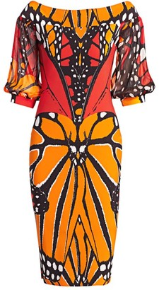 Chiara Boni Elke Butterfly Print Sheath Dress