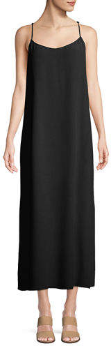 Eileen Fisher Long Solid Crepe Slip Dress