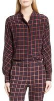 Theory Women's Plaid Dolman Sleeve Silk Blouse