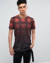 Criminal Damage T-shirt In Black With Tartan Print