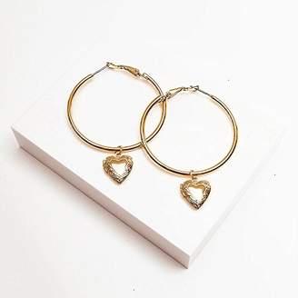 Johnny Loves Rosie Women 900 Platinum Gracie Gold Heart Locket Hoop Earrings