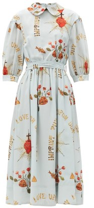Simone Rocha Sacred Heart-print Round-collar Silk Midi Dress - Light Blue