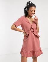 Asos Design DESIGN v front frill seam smock dress in rose
