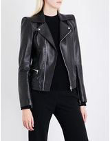 Thierry Mugler Ladies Black Exposed Zip Shoulder-Padded Leather Jacket