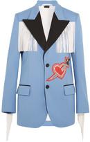Gucci Fringed Embellished Stretch-twill Jacket - Blue