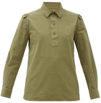 Saint Laurent Half-button Distressed Cotton Work Shirt - Womens - Khaki
