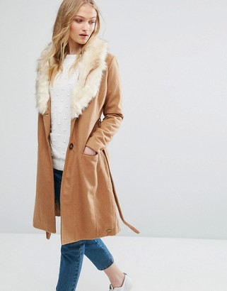 Bellfield Belted Wool Blend Coat With Faux Fur Collar