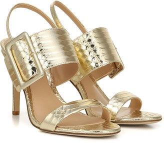 Via Spiga Metallic Leather City Stiletto Sandals - Macyn