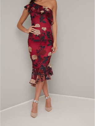 Chi Chi London Jannie One Shoulder Floral Dress - Burgundy