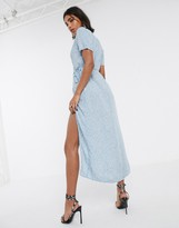 Motel midi dress with thigh split in ditsy rose floral