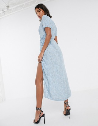 Motel midi dress with thigh split in ditsy rose floral-Blue