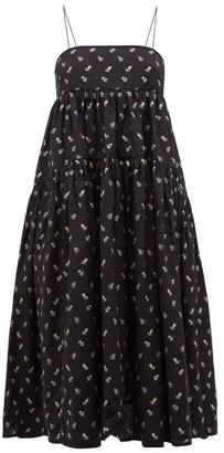 Cecilie Bahnsen Sofie Floral-embroidered Open-back Cotton Dress - Black Blue