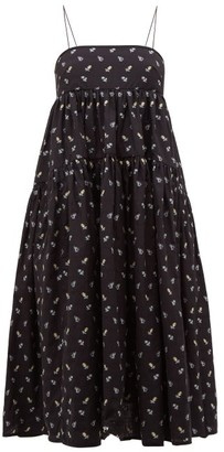 Cecilie Bahnsen Sofie Floral-embroidered Open-back Cotton Dress - Womens - Black Blue