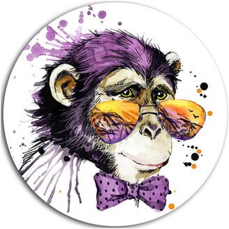 "Design Art Usa Cool Monkey, Animal Round Wall Art, 23"""