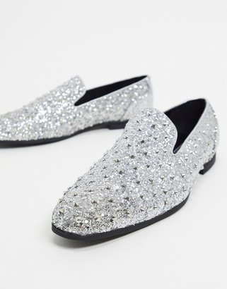 ASOS DESIGN loafers in silver glitter with stud detail