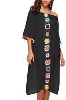 Look Fashion Women's Swimsuit Coverups Black - Black Crochet-Accent Off-Shoulder Cover-Up