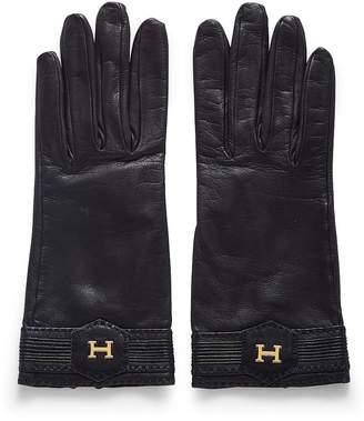 Hermes Black Lambskin Ribbed Gloves