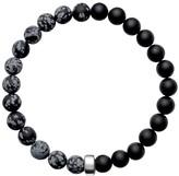 Ora Pearls ARO Men's Snowflake Obsidian & Onyx Bracelet Silver Bead - Large