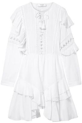 Sea Weatherly Crochet-trimmed Ruffled Cotton-blend Mini Dress
