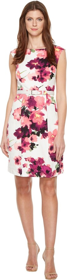 Adrianna Papell Women's Floral Printed Cotton Faille Belted Aline