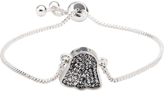 Star Wars Jewelry Women's Silver Plated Darth Vader with Clear Gem Bracelet One Size (SALES1SWMD)
