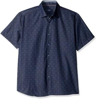 Stone Rose Men's Geometric Denim Printed Short Sleeve Button Down Shirt