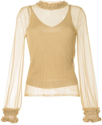 Fendi Sheer Open-Knit Ruffle-Trim Top