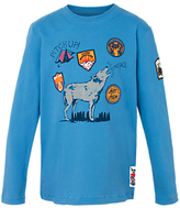 Fat Face Boys' Long Sleeve Wolf T-Shirt, Blue