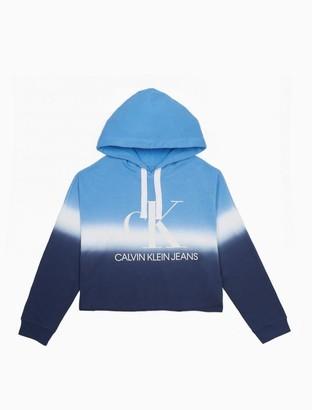 Calvin Klein Tie-Dye Monogram Logo Pullover Cropped Hoodie