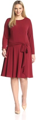 Melissa Masse Plus Women's Long Sleeve Fit and Flare Dress