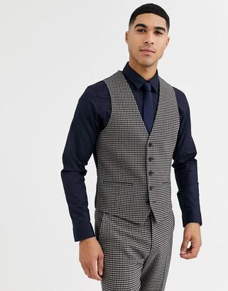 Rudie heritage houndstooth check skinny fit suit vest