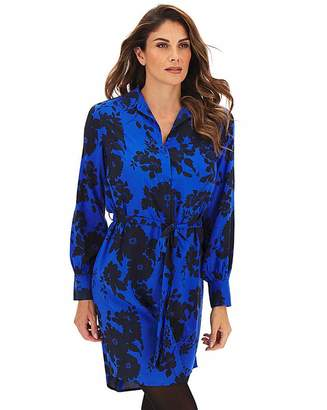 Capsule Blue Floral Tie Waist Shirt Dress