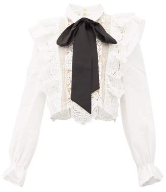 Self-Portrait Self Portrait Balloon-sleeve Pussy-bow Lace Blouse - Womens - White Black
