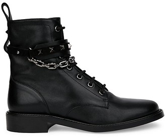 Valentino Rockstud Chain Leather Combat Boots