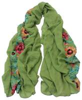 ACMEDE Lady Women Vintage Cotton Embroidered Flowers Scarf Wrap Maxi Shawl Stole Neckerchief Scarves