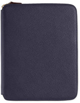 Smythson Panama A5 Zip Folder with Notebook, Navy