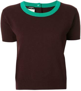Chanel Pre-Owned cashmere contrasting neck knitted T-shirt