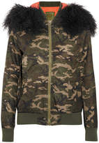MR & MRS ITALY - Shearling-trimmed Camouflage-print Canvas Bomber Jacket - Army green